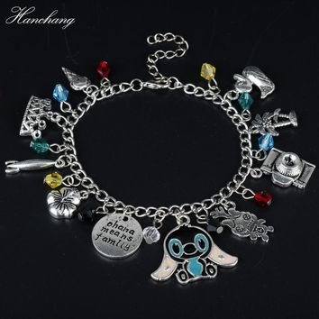 HANCHANG Jewelry Ohana Means Family Bracelet Inspired Lilo Stitch Camera Crown Flower Crystal Pendants Bracelet Women Girls Gift