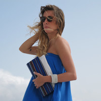 Boho chic leather folded clutch in white with blue  Crete-Clutch 01W Available in other colors too.  NEW