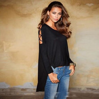 Black Round Neck Long Sleeve Chiffon Blouse 13197