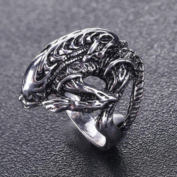 Hot selling  AVP Alien Predator Punk Ring Alien Warrior Rings Cool Jewelry Animal Skull Biker Ring For Men and Women