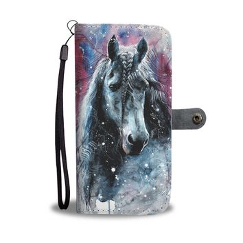 PEAPV4S Watercolor Horse In The Snow Wallet Phone Case