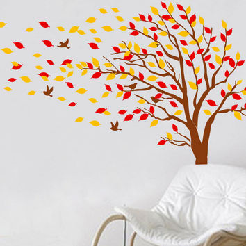 Autumn Tree Falling Leaves And Flying Birds Vinyl Wall Decals Kids Room Decor  Hanging Red Orange Wind Floating Fall Decla D-314