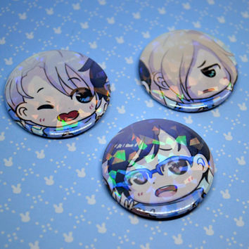 Holographic Yuri!!! on Ice Badges Pin Buttons Handmade Fan Art Anime Victor Yuuri Yurio Yuri