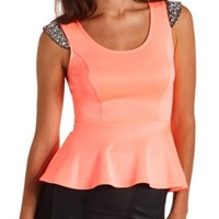 Neon Beaded Cap Sleeve Peplum Top by Charlotte Russe - Coral