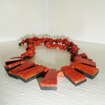 Vintage Necklace Sponge Coral Choker Collar  Egyptian Geometric Lucite Jewelry Orange Red  Bib Waterfall Retro Art Deco Statment