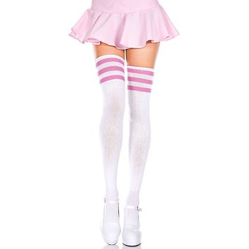 White and Pink 3 Stripe Thigh High Socks