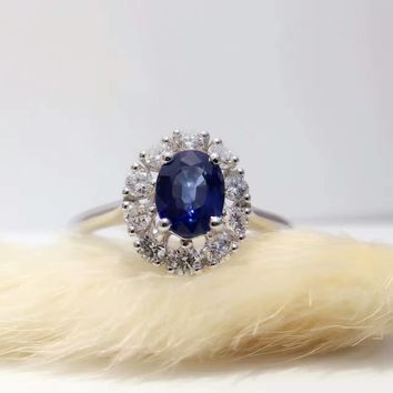18K Gold 0.887ct Natural Sapphire Women Ring with 0.372ct Diamond Setting 2017 New Fine Jewelry Wedding Band Engagement