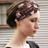 Barista Beauty Vintage Headband: Retro Faux Head Wrap for Adults, Coffee Latte Print, 100% Cotton Fabric, Brown Headband