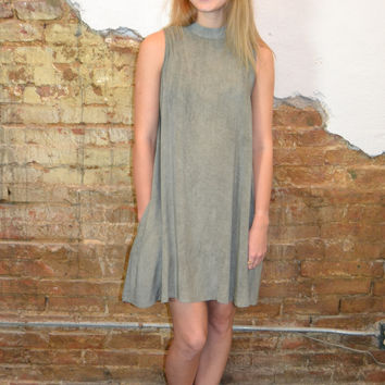 Washed Out Mock Neck Dress