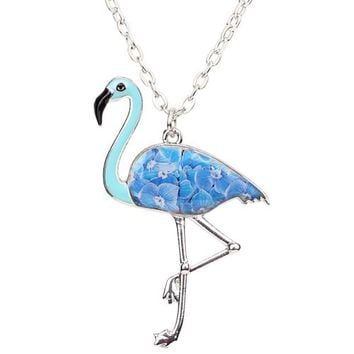 Statement Alloy Flamingo Bird Pendant Necklace Enamel Chain Collar New Fashion Animal Accessories Jewelry For Women
