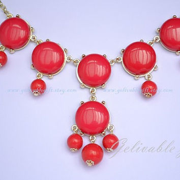 Red Bubble Necklace, Bubble Bib Necklace, beadwork statement  necklace,Bubble Jewelry NBB003