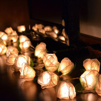White Rose Flower String Lights For Bedroom and Wedding Decoration 35 Lights / Set