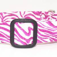 Magenta and White Zebra Print Dog Collar