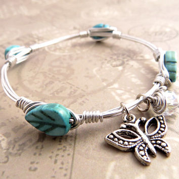 Turquoise Leaves and Butterfly Bangle