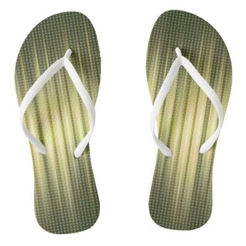 Abstract Golden Green Steady Lights Flip Flops