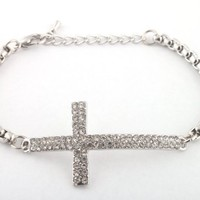 2 Pieces of Silvertone Iced Out Cross Adjustable Link Bracelet Shamballah