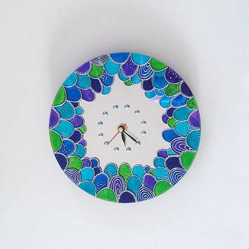 Mermaid Mirror Wall Clock - Hand Painted Silent Wall Clock