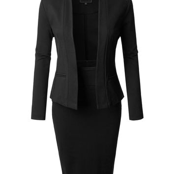 LE3NO Womens Long Sleeve Open Blazer and High Waisted Pencil Skirt Suit Set