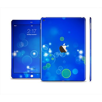 The Lime Green & Blue Unfocused Cells Skin Set for the Apple iPad Air 2