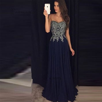 A-Line Strapless Applique Dark Navy Prom Dresses,Prom Dress