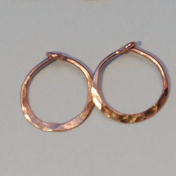 Solid 14k Rose Gold Hoops, Half Inch Minimalist Hammered Rose Gold, Tiny Hoop Earings, 12 mm Everyday Sleepers with Locking Clasp