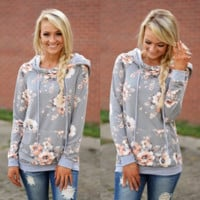Long-Sleeved Hooded Printing Slim Pocket Sweater