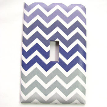Light Switch Cover - Light Switch Plate Gray Lilac Purple Chevron