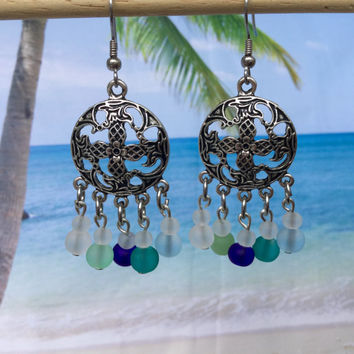 Sea Glass Bohemian style Earrings ~ Beach Glass Earring ~ Cultured Seaglass Jewelry ~ Sea Glass Beaded Jewelry ~ Beach Wedding Earrings