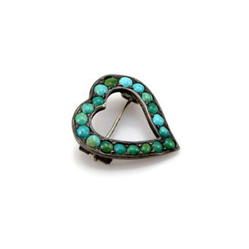 Witches Heart Turquoise Pin, 900 Silver, Victorian Love Token, Persian Turquoise, Antique Brooch, Victorian Jewelry, Brooch, Pin, Turquoise