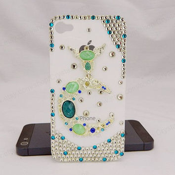 Angel  moon case  iPhone case,bling iphone 6 case,Crystal iphone 6 Plus,Rhinestone iphone 5/5S/5c,iphone 4 case samsung galaxy S3/S4/S5