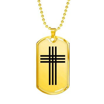 Stylized Cross - 18k Gold Finished Luxury Dog Tag Necklace