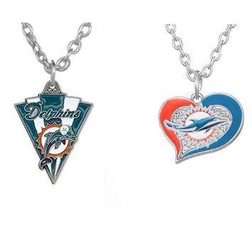 Skyrim Zinc Alloy Miami Dolphins Football Pendant Necklace Triangle and Heart Shape Charm Jewelry For Men and Women Gift