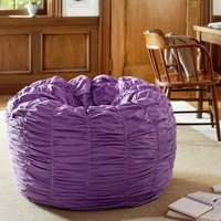 Ruched Purple Beanbag