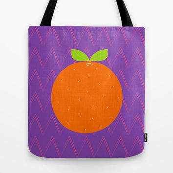 Orange Chevron Tote Bag by Ariel Lark | Society6