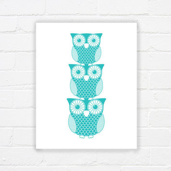 Printable owl art - owl printable wall decor - printable nursery print - childrens room art - turquoise - modern print - INSTANT DOWNLOAD