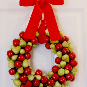 Apples and Pears Wreath, Fruit Wreath, Kitchen, Front Door, Indoor Wreath, Fall