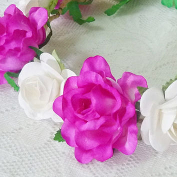 Magenta flower crown Hot pink rose Large rose white headband /Festival flower crown /floral headpiece/ flower crown ribbon tie back