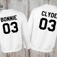Bonnie Clyde 03 Set of 2 Couple Crewnecks, Bonnie Clyde 03 Set of 2 Couple Sweaters 100% cotton Tee, WHITE, UNISEX