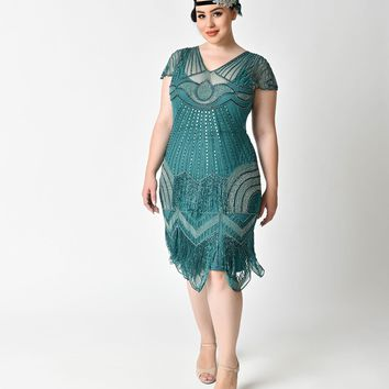 Plus Size 1920s Style Teal Beaded Deco Cap Sleeve Beatrice Flapper Dress