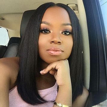 Beaudiva Short Bob Wigs Brazilian 100% Human Hair Straight Lace Front Human Hair Wigs For Charming Women Natural Color