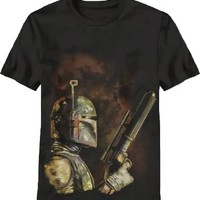 Star Wars Bounty Hunter Boba Fett Graphic Adult Black T-shirt