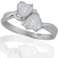 10k White Gold Created Opal and Diamond Heart Ring (0.02 cttw, I-J Color, I1 Clarity), Size 5