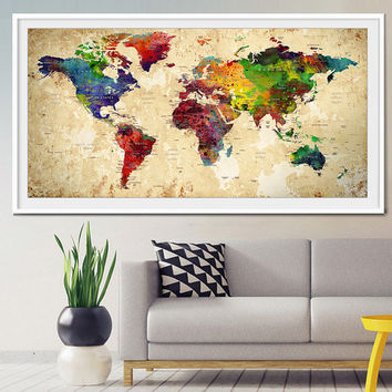World map push pin, Push Pin Travel Map, Wall Art, World Map, Push Pin World Map, World Map Poster, Home Decor, World Map Print (L12)