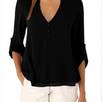 4 Colors Black/Red/Blue/Brown V-neck Button Detail Dip Back Roll-up Sleeve Loose Blouse 2016 Brief Workwear Top