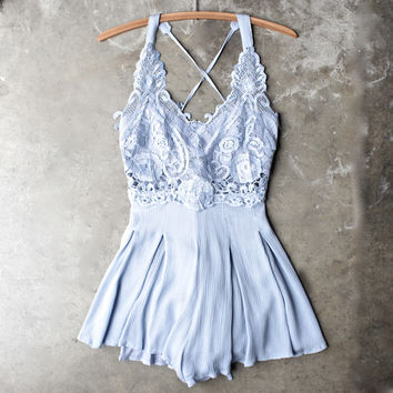 first lace winner microfiber romper - periwinkle