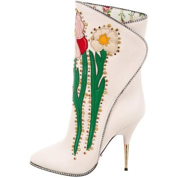 Gucci NEW Runway Novelty White Embroidered Crystal Evening Ankle Boots
