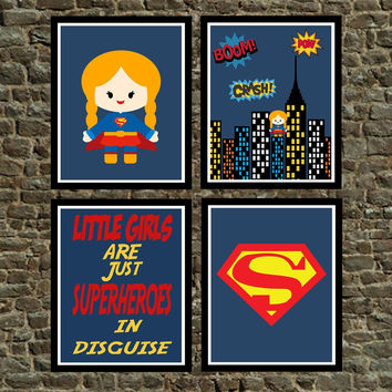 Choice of Supergirl Superhero Wall Art Prints, Supergirl, Cityscape, Dream Big Little One