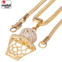 Jewelry Kay style Men's G / S Basketball Pendant Stainless Steel & Franco Chain Necklace SCP 685