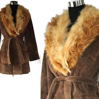 Vintage leather Suede Jacket 70s Fox Fur Collar Suede Wrap Jacket Spy Coat Leather Coat Fur Coat Brown Leather Jacket Holiday Winter Fashion