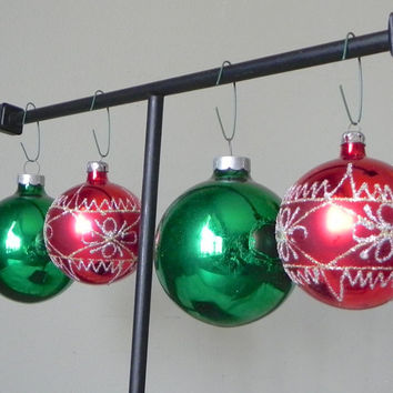 Vintage mercury glass christmas balls ornaments red silver green glittery glitter four shiny brute